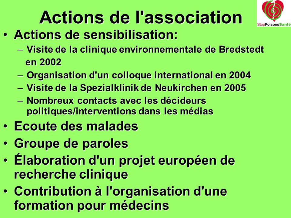Actions de l'association Actions de sensibilisation:Actions de sensibilisation: –Visite de la clinique environnementale de Bredstedt en 2002 en 2002 –