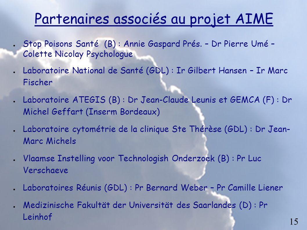 Partenaires associés au projet AIME Stop Poisons Santé (B) : Annie Gaspard Prés. – Dr Pierre Umé – Colette Nicolay Psychologue Laboratoire National de