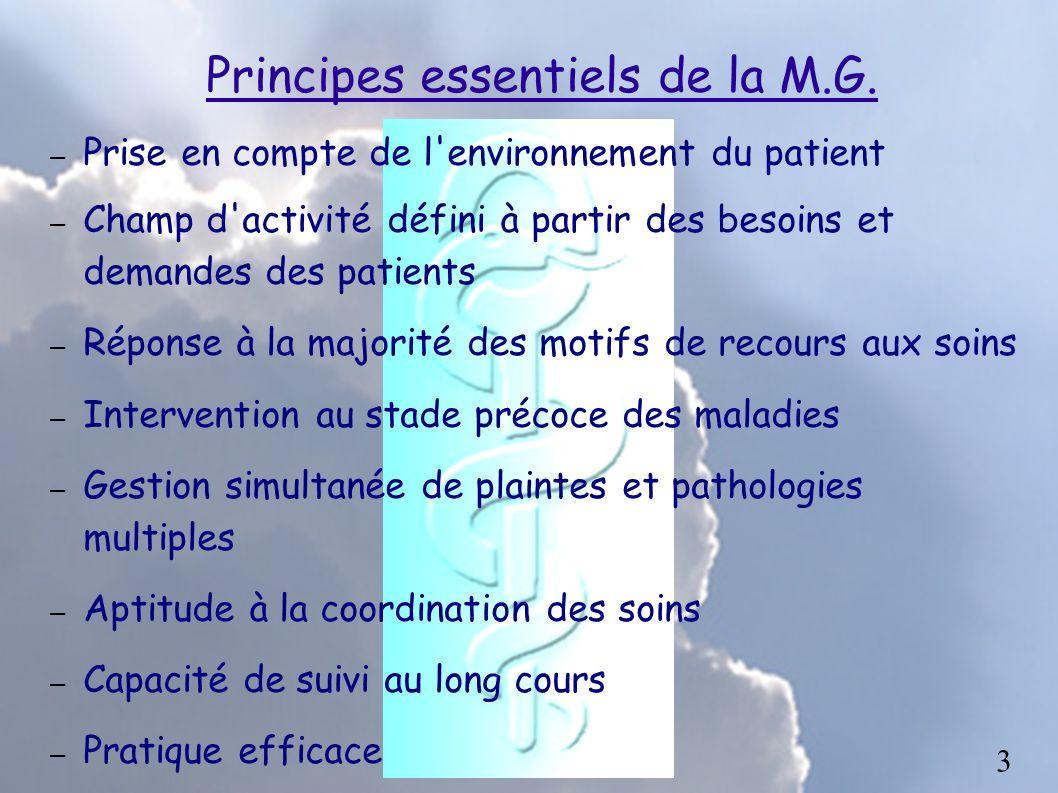 Principes essentiels de la M.G. – Prise en compte de l'environnement du patient – Champ d'activité défini à partir des besoins et demandes des patient