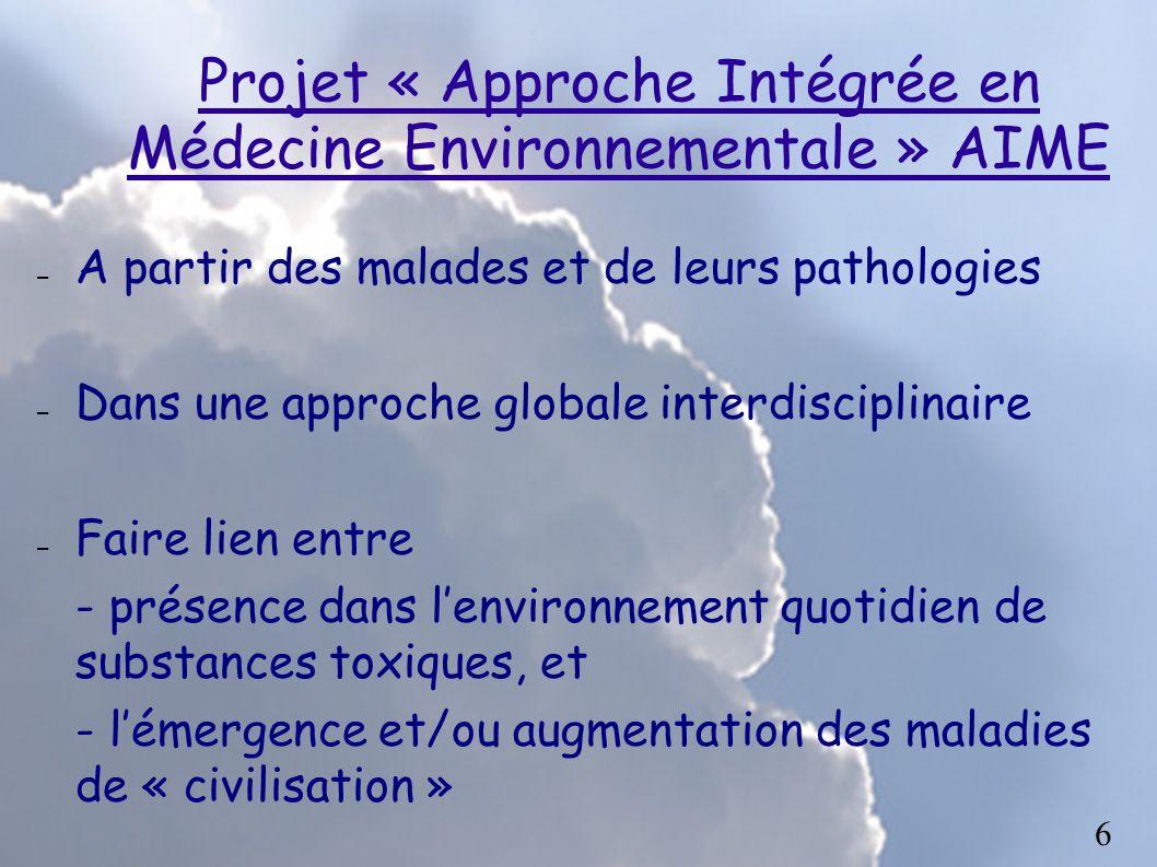 Projet « Approche Intégrée en Médecine Environnementale » AIME – A partir des malades et de leurs pathologies – Dans une approche globale interdiscipl
