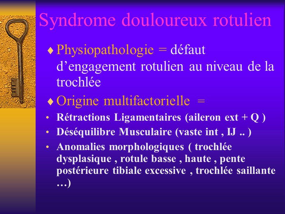 Syndrome douloureux rotulien Physiopathologie = défaut dengagement rotulien au niveau de la trochlée Origine multifactorielle = Rétractions Ligamentaires (aileron ext + Q ) Déséquilibre Musculaire (vaste int, IJ..