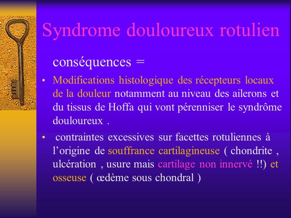 Syndrome douloureux rotulien conséquences = Modifications histologique des récepteurs locaux de la douleur notamment au niveau des ailerons et du tissus de Hoffa qui vont pérenniser le syndrôme douloureux.