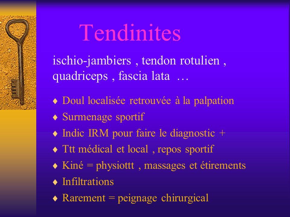 Tendinites ischio-jambiers, tendon rotulien, quadriceps, fascia lata … Doul localisée retrouvée à la palpation Surmenage sportif Indic IRM pour faire