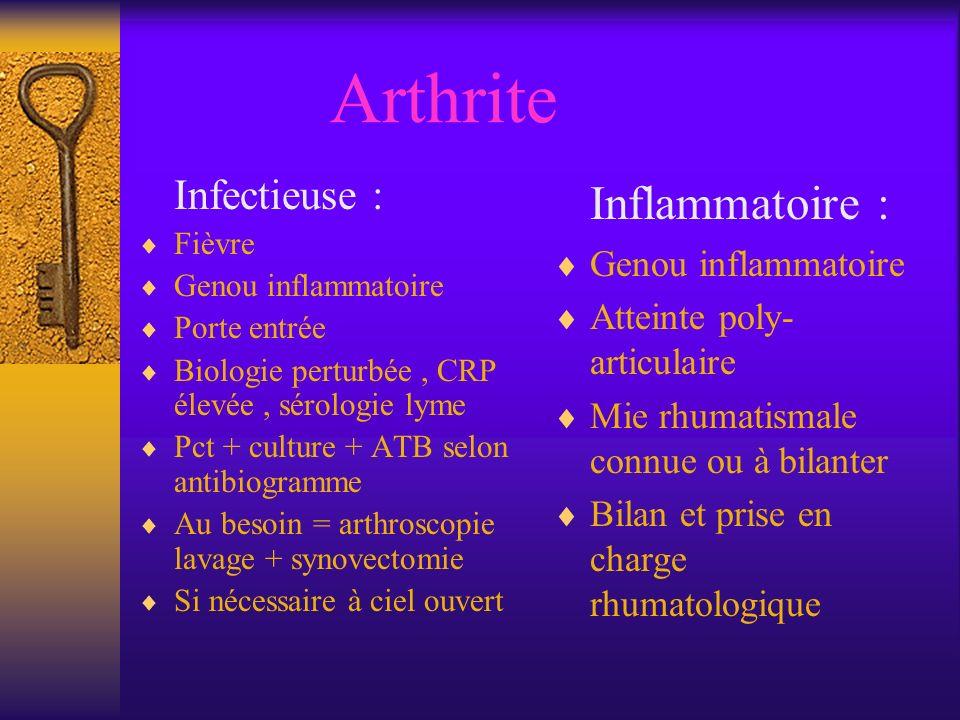 Arthrite Infectieuse : Fièvre Genou inflammatoire Porte entrée Biologie perturbée, CRP élevée, sérologie lyme Pct + culture + ATB selon antibiogramme