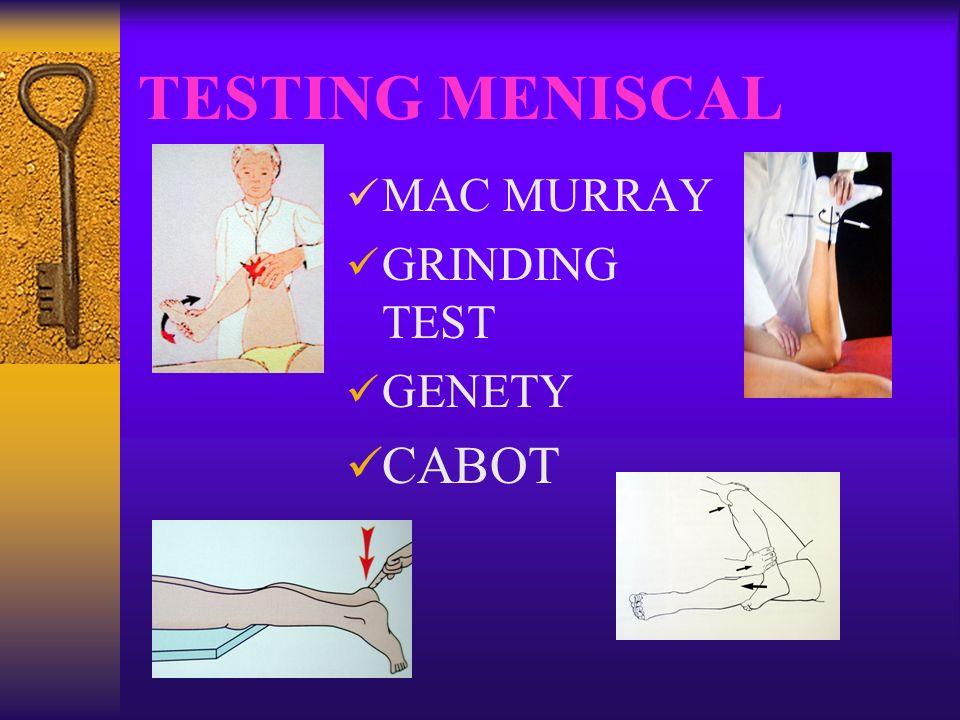 Lésion méniscale Examen clinique pas tjrs complet Radiographie normale IRM montre la lésion avec une bonne sensibilité et bonne spécificité