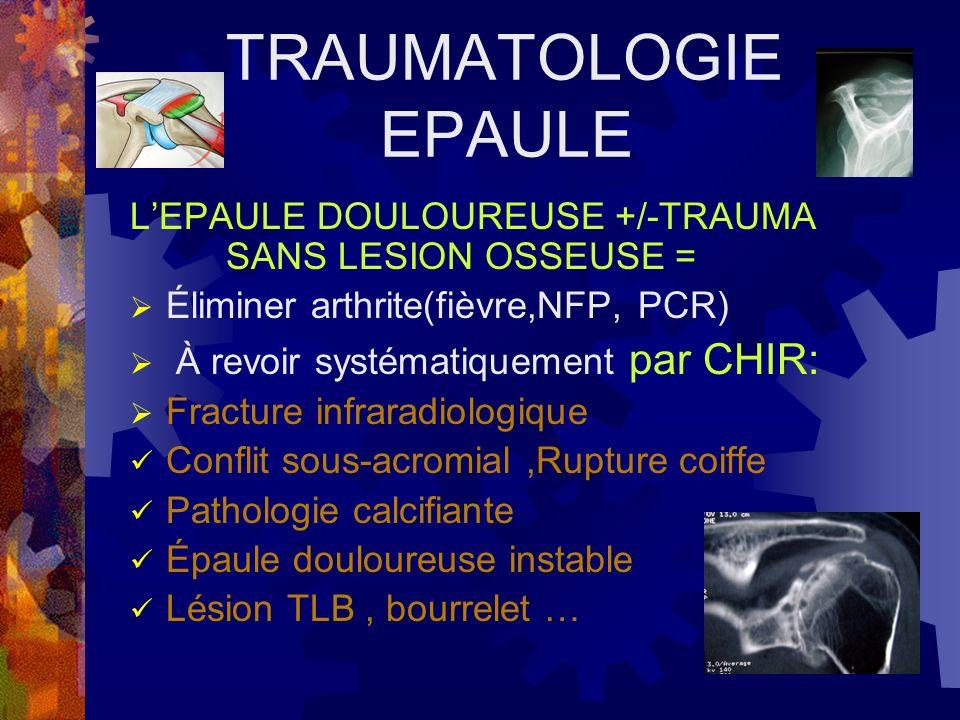 TRAUMATOLOGIE EPAULE LEPAULE DOULOUREUSE +/-TRAUMA SANS LESION OSSEUSE = Éliminer arthrite(fièvre,NFP, PCR) À revoir systématiquement par CHIR: Fractu