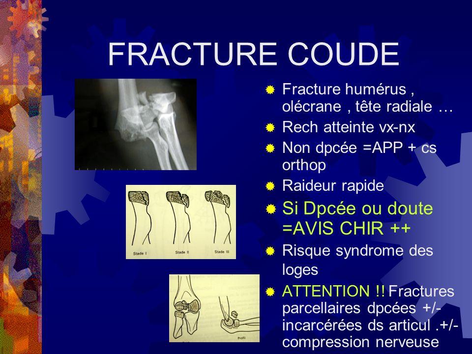 FRACTURE COUDE Fracture humérus, olécrane, tête radiale … Rech atteinte vx-nx Non dpcée =APP + cs orthop Raideur rapide Si Dpcée ou doute =AVIS CHIR +
