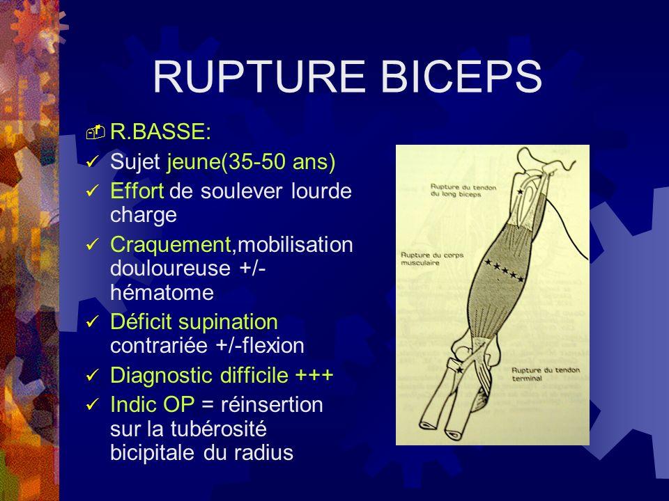 RUPTURE BICEPS R.BASSE: Sujet jeune(35-50 ans) Effort de soulever lourde charge Craquement,mobilisation douloureuse +/- hématome Déficit supination co