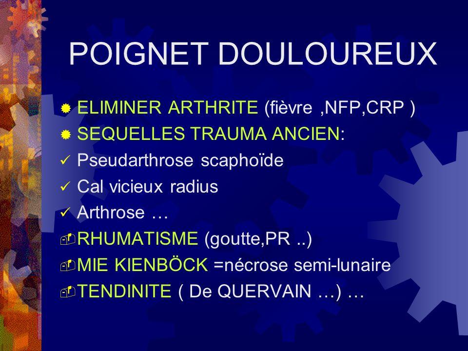 POIGNET DOULOUREUX ELIMINER ARTHRITE (fièvre,NFP,CRP ) SEQUELLES TRAUMA ANCIEN: Pseudarthrose scaphoïde Cal vicieux radius Arthrose … RHUMATISME (gout
