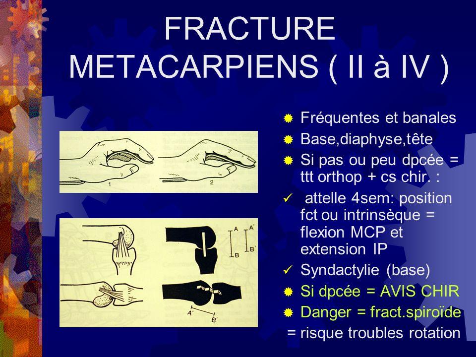 FRACTURE METACARPIENS ( II à IV ) Fréquentes et banales Base,diaphyse,tête Si pas ou peu dpcée = ttt orthop + cs chir. : attelle 4sem: position fct ou