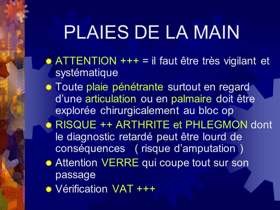 PLAIES DE LA MAIN ATTENTION +++ = il faut être très vigilant et systématique Toute plaie pénétrante surtout en regard dune articulation ou en palmaire