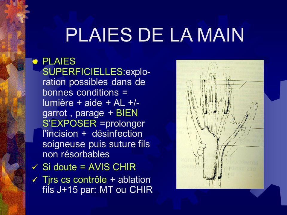 PLAIES SUPERFICIELLES:explo- ration possibles dans de bonnes conditions = lumière + aide + AL +/- garrot, parage + BIEN SEXPOSER =prolonger lincision