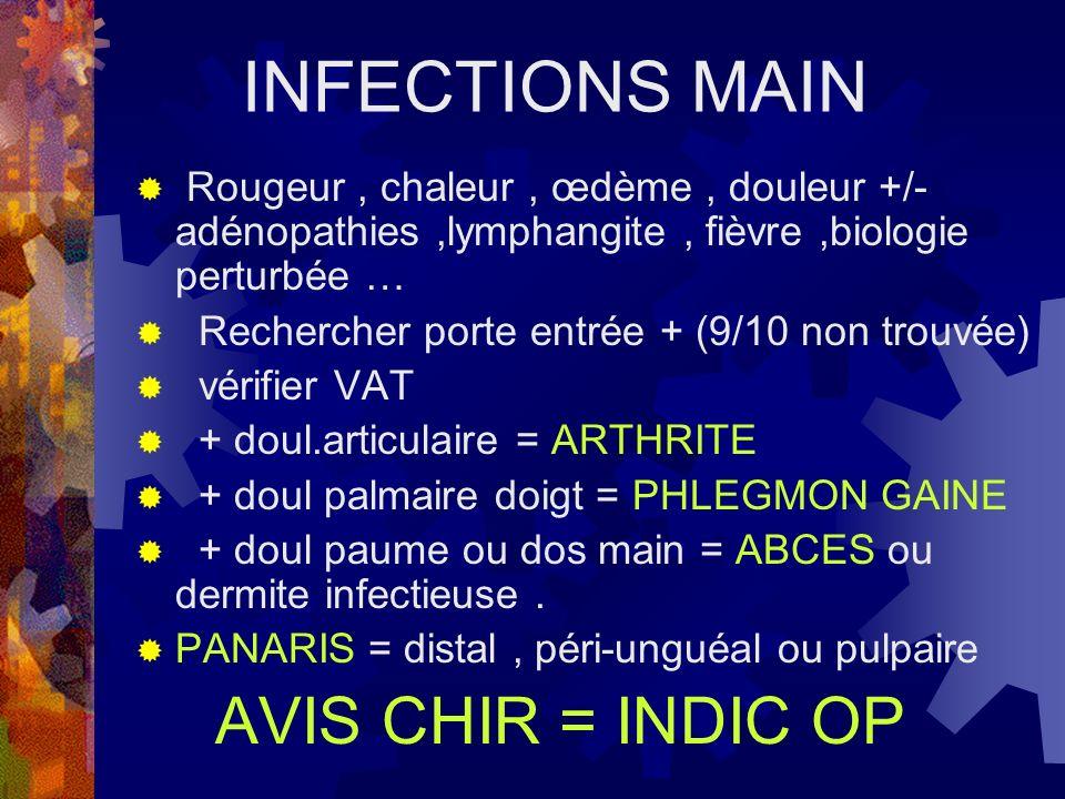 INFECTIONS MAIN Rougeur, chaleur, œdème, douleur +/- adénopathies,lymphangite, fièvre,biologie perturbée … Rechercher porte entrée + (9/10 non trouvée