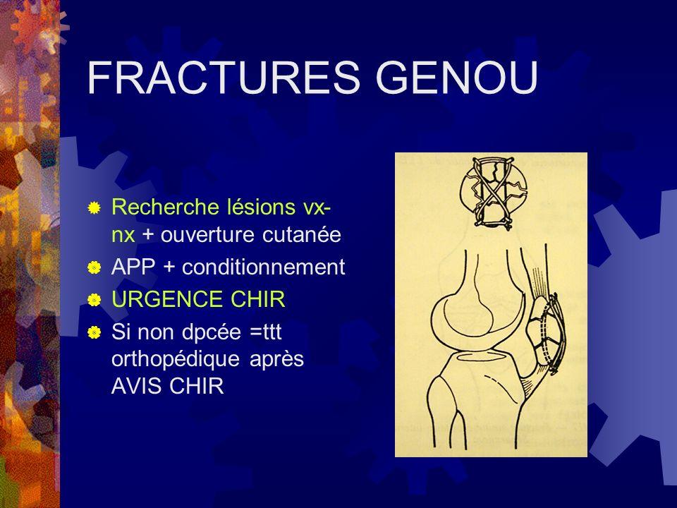 FRACTURES GENOU Recherche lésions vx- nx + ouverture cutanée APP + conditionnement URGENCE CHIR Si non dpcée =ttt orthopédique après AVIS CHIR