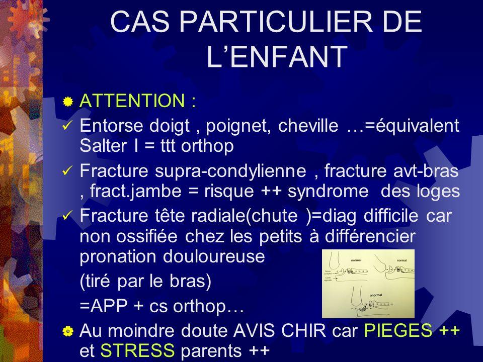 CAS PARTICULIER DE LENFANT ATTENTION : Entorse doigt, poignet, cheville …=équivalent Salter I = ttt orthop Fracture supra-condylienne, fracture avt-br
