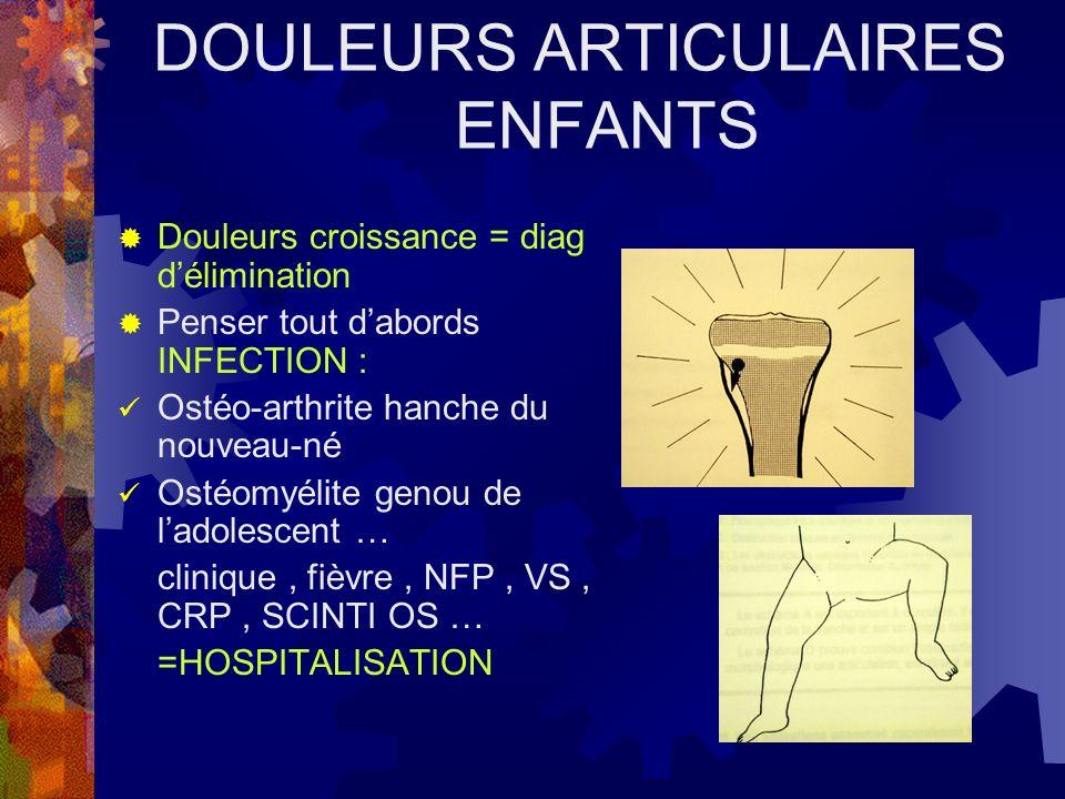 DOULEURS ARTICULAIRES ENFANTS Douleurs croissance = diag délimination Penser tout dabords INFECTION : Ostéo-arthrite hanche du nouveau-né Ostéomyélite