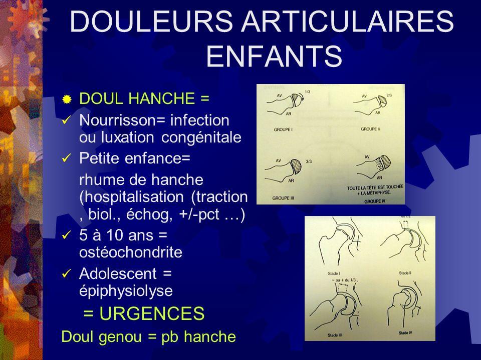 DOULEURS ARTICULAIRES ENFANTS DOUL HANCHE = Nourrisson= infection ou luxation congénitale Petite enfance= rhume de hanche (hospitalisation (traction,