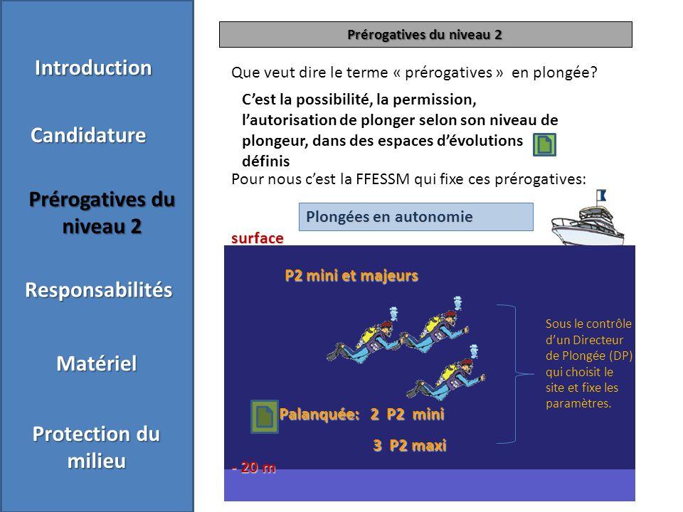 Prérogatives du niveau 2 Que veut dire le terme « prérogatives » en plongée.