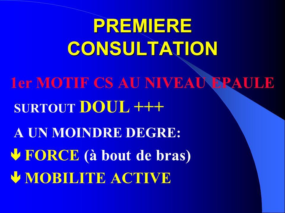 PREMIERE CONSULTATION 1er MOTIF CS AU NIVEAU EPAULE SURTOUT DOUL +++ A UN MOINDRE DEGRE: FORCE (à bout de bras) MOBILITE ACTIVE