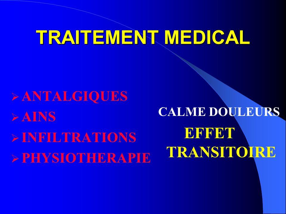 TRAITEMENT MEDICAL ANTALGIQUES AINS INFILTRATIONS PHYSIOTHERAPIE CALME DOULEURS EFFET TRANSITOIRE