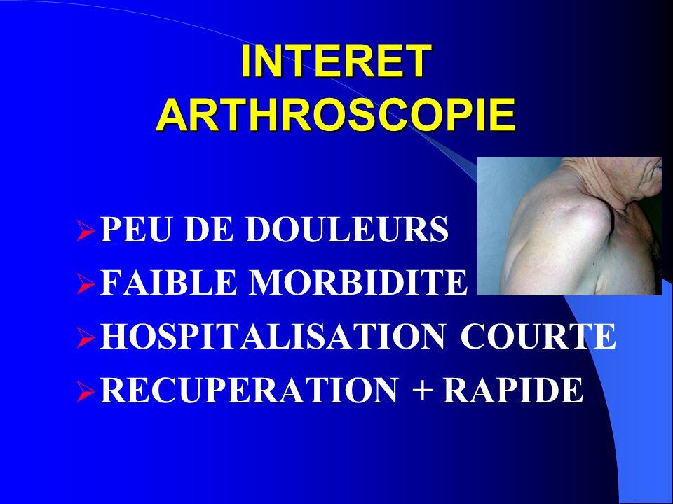 INTERET ARTHROSCOPIE PEU DE DOULEURS FAIBLE MORBIDITE HOSPITALISATION COURTE RECUPERATION + RAPIDE