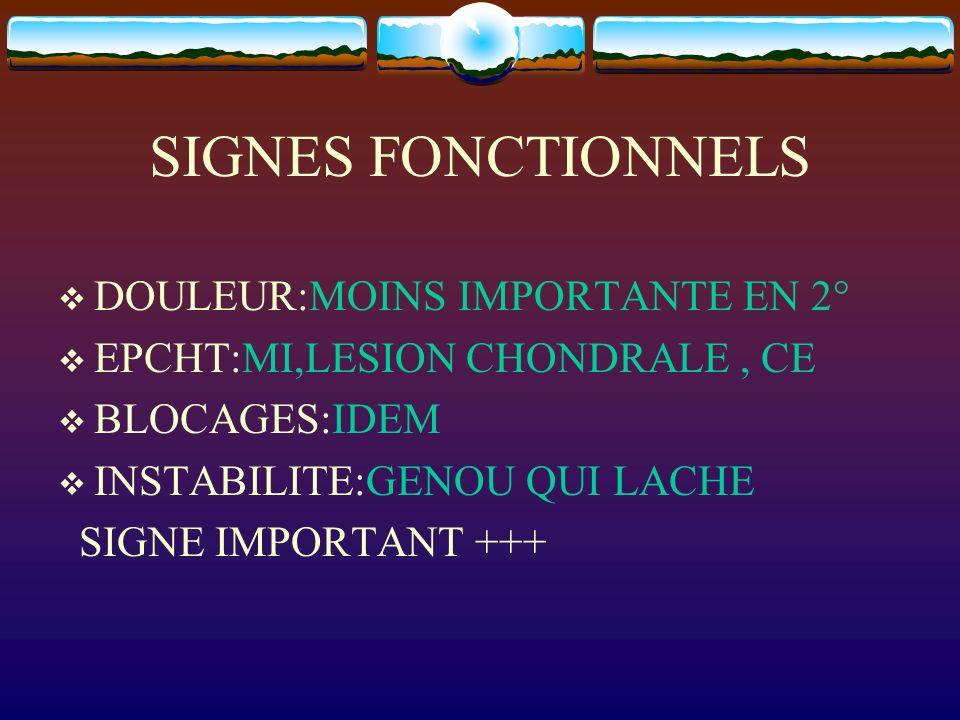 SIGNES FONCTIONNELS DOULEUR:MOINS IMPORTANTE EN 2° EPCHT:MI,LESION CHONDRALE, CE BLOCAGES:IDEM INSTABILITE:GENOU QUI LACHE SIGNE IMPORTANT +++