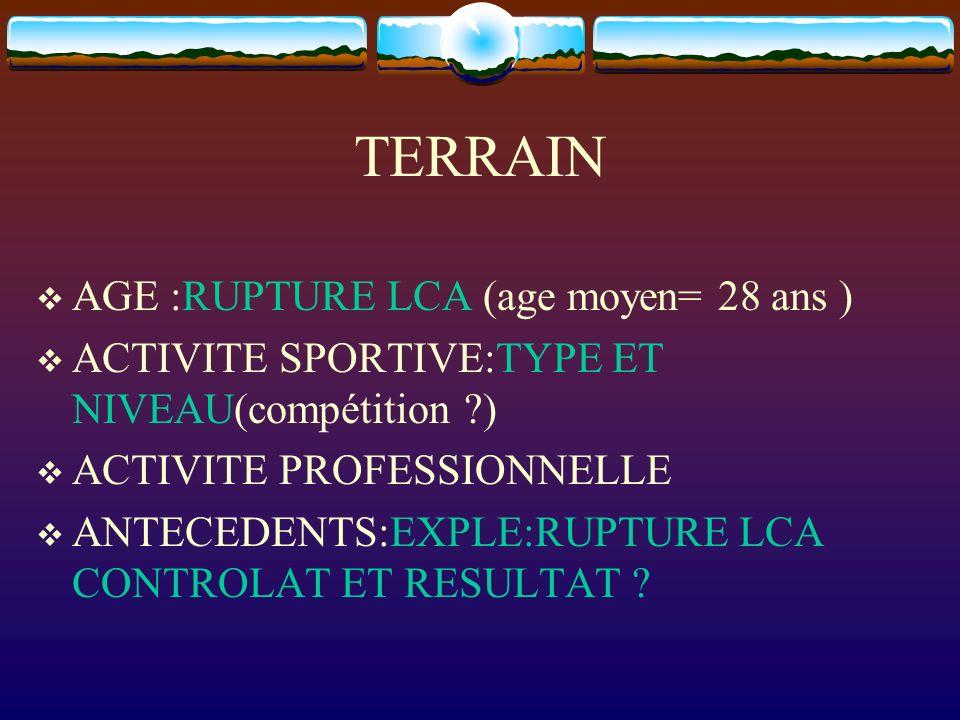 TERRAIN AGE :RUPTURE LCA (age moyen= 28 ans ) ACTIVITE SPORTIVE:TYPE ET NIVEAU(compétition ?) ACTIVITE PROFESSIONNELLE ANTECEDENTS:EXPLE:RUPTURE LCA C
