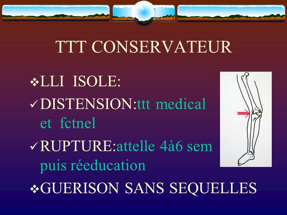 TTT CONSERVATEUR LLI ISOLE: DISTENSION:ttt medical et fctnel RUPTURE:attelle 4à6 sem puis réeducation GUERISON SANS SEQUELLES