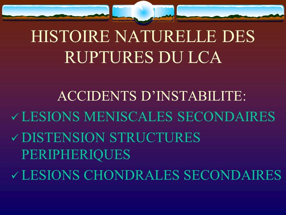 HISTOIRE NATURELLE DES RUPTURES DU LCA ACCIDENTS DINSTABILITE: LESIONS MENISCALES SECONDAIRES DISTENSION STRUCTURES PERIPHERIQUES LESIONS CHONDRALES S
