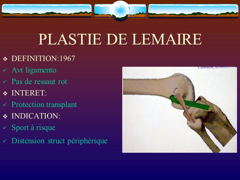 PLASTIE DE LEMAIRE DEFINITION:1967 Avt ligamento Pas de ressaut rot INTERET: Protection transplant INDICATION: Sport à risque Distension struct périph