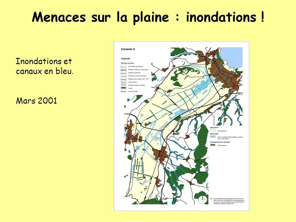 Inondations et canaux en bleu. Mars 2001 Menaces sur la plaine : inondations !