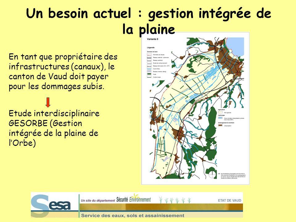 Un besoin actuel : gestion intégrée de la plaine En tant que propriétaire des infrastructures (canaux), le canton de Vaud doit payer pour les dommages