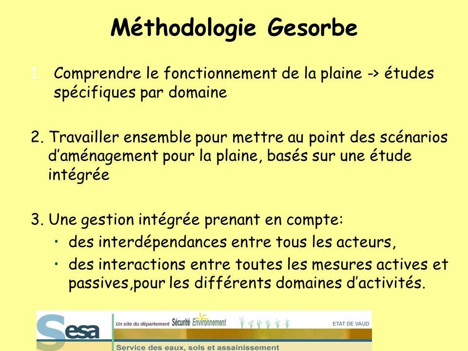 Méthodologie Gesorbe 1.Comprendre le fonctionnement de la plaine -> études spécifiques par domaine 2. Travailler ensemble pour mettre au point des scé