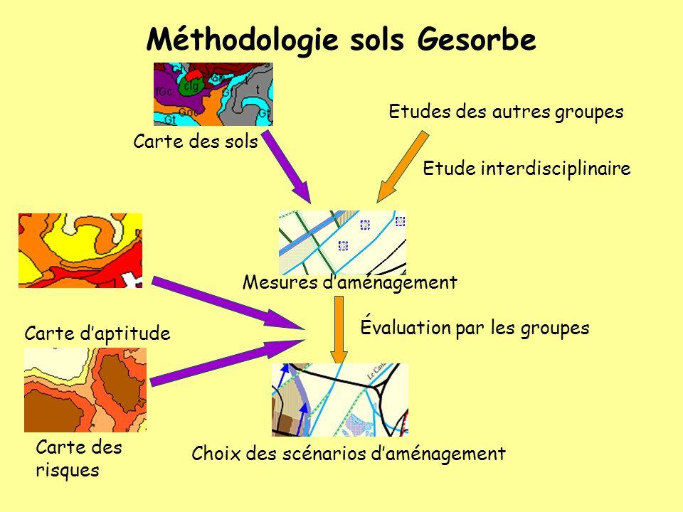 Méthodologie sols Gesorbe Carte des sols Carte daptitude Etude interdisciplinaire Mesures daménagement Etudes des autres groupes Évaluation par les gr