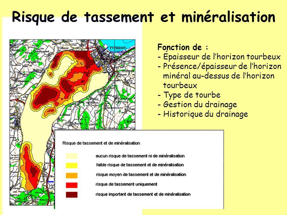 Risque de tassement et minéralisation Fonction de : - Épaisseur de lhorizon tourbeux - Présence/épaisseur de lhorizon minéral au-dessus de lhorizon to