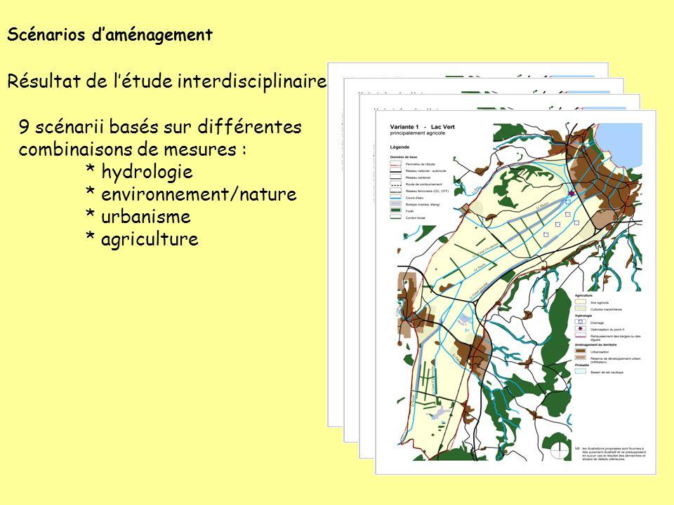 Scénarios daménagement 9 scénarii basés sur différentes combinaisons de mesures : * hydrologie * environnement/nature * urbanisme * agriculture Résult
