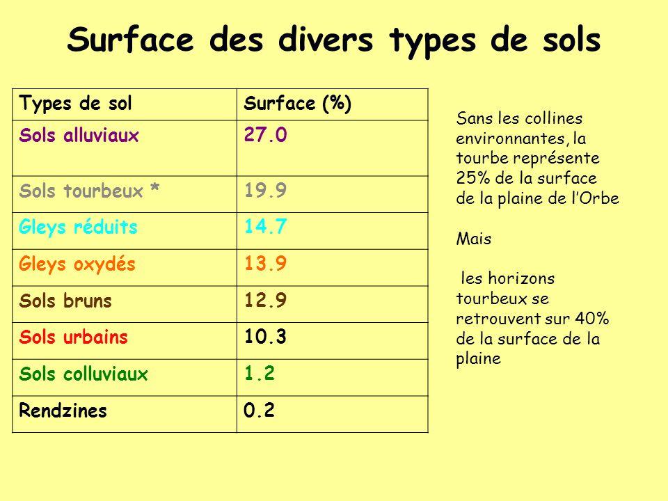 Surface des divers types de sols Types de solSurface (%) Sols alluviaux27.0 Sols tourbeux *19.9 Gleys réduits14.7 Gleys oxydés13.9 Sols bruns12.9 Sols