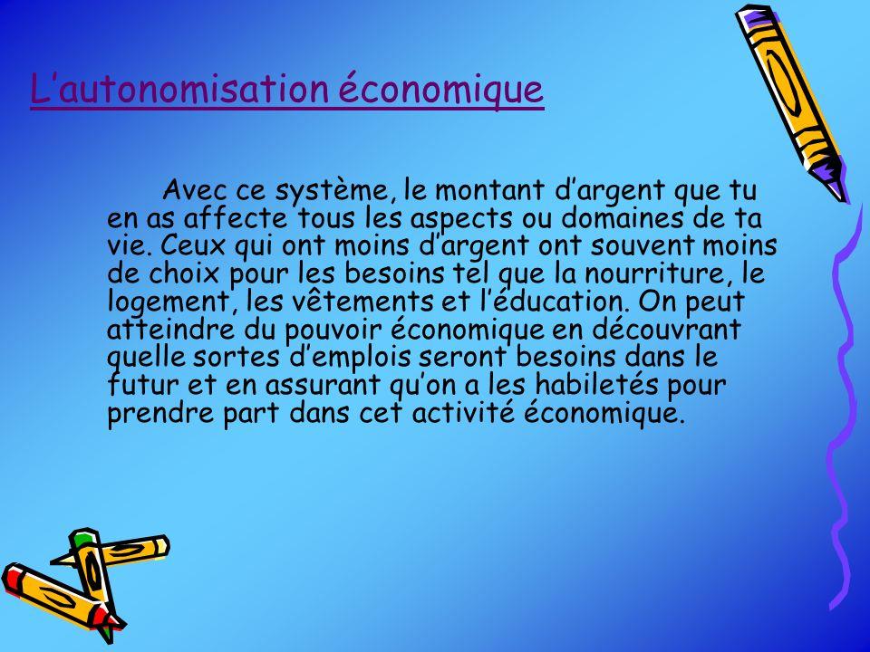 Lautonomisation économique Avec ce système, le montant dargent que tu en as affecte tous les aspects ou domaines de ta vie. Ceux qui ont moins dargent