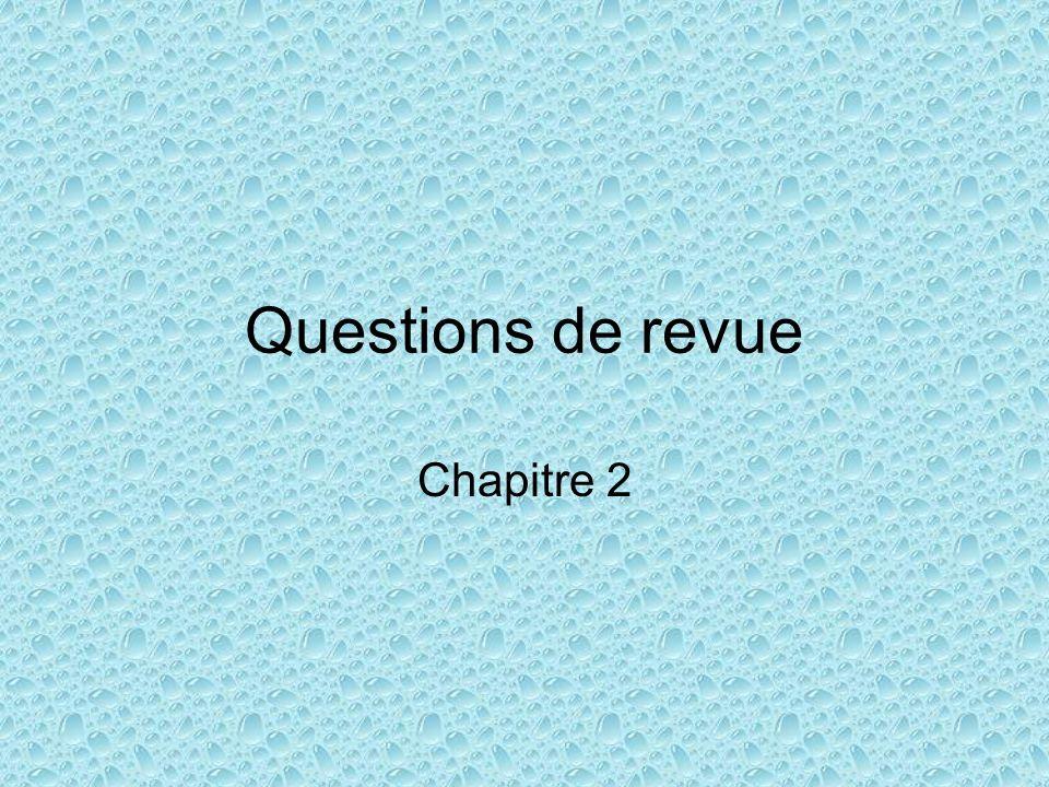 Questions de revue Chapitre 2