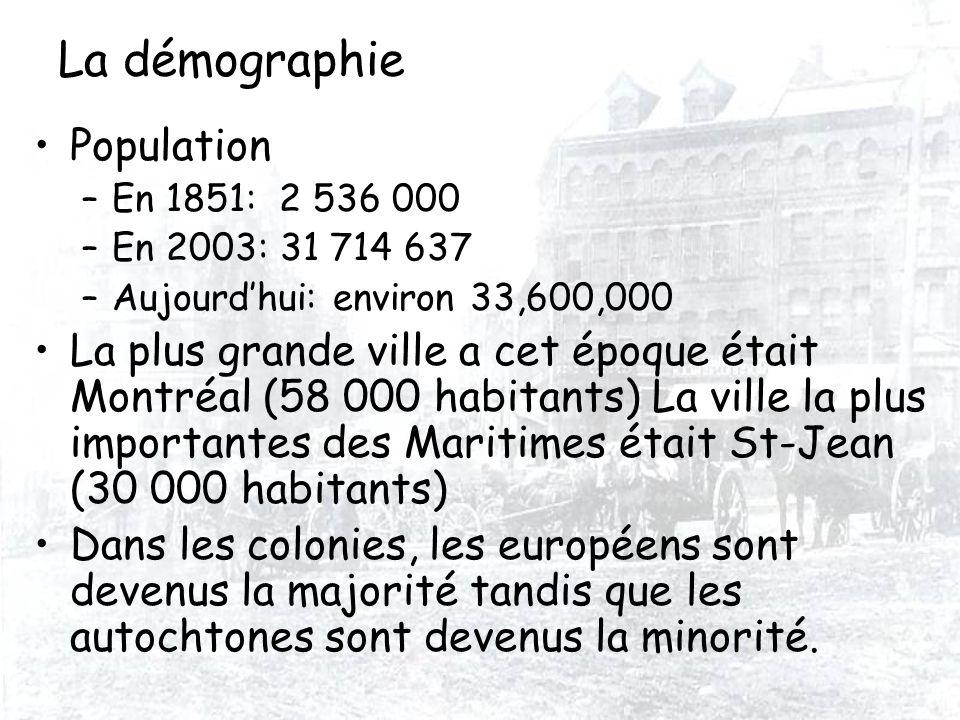 La démographie Population –En 1851: 2 536 000 –En 2003: 31 714 637 –Aujourdhui: environ 33,600,000 La plus grande ville a cet époque était Montréal (5