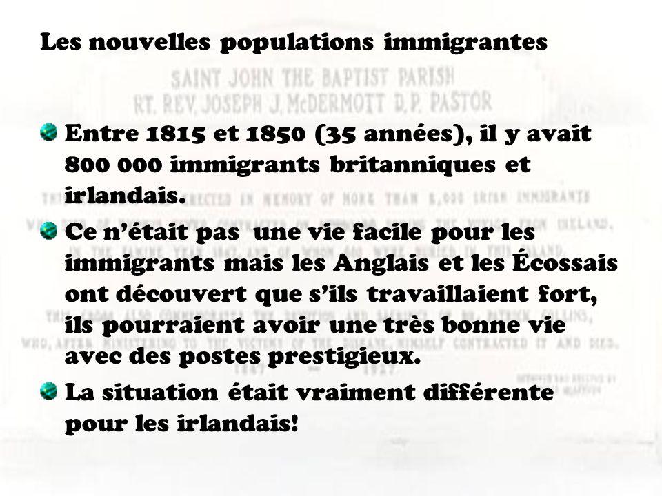 Les nouvelles populations immigrantes Entre 1815 et 1850 (35 années), il y avait 800 000 immigrants britanniques et irlandais. Ce nétait pas une vie f