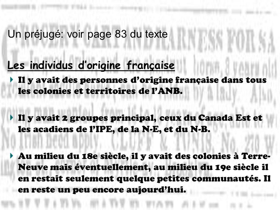 Un préjugé: voir page 83 du texte Les individus dorigine française Il y avait des personnes dorigine française dans tous les colonies et territoires d