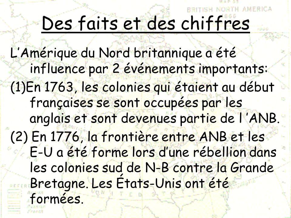 Des faits et des chiffres LAmérique du Nord britannique a été influence par 2 événements importants: (1)En 1763, les colonies qui étaient au début fra