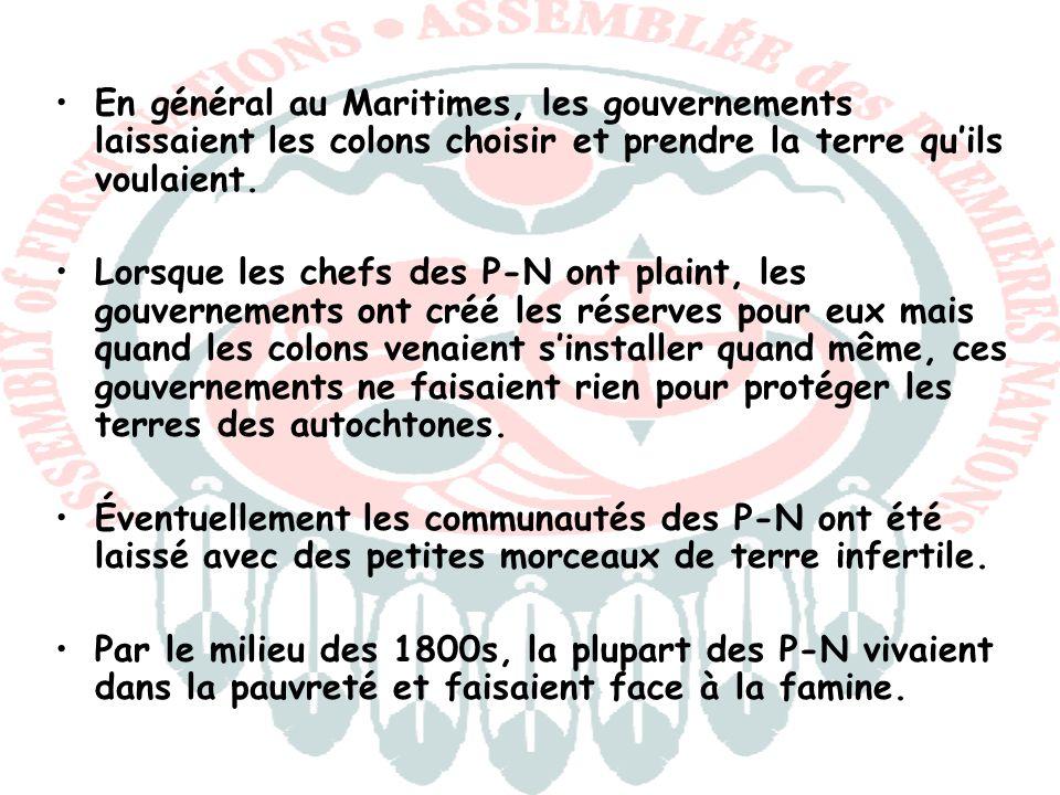 En général au Maritimes, les gouvernements laissaient les colons choisir et prendre la terre quils voulaient. Lorsque les chefs des P-N ont plaint, le