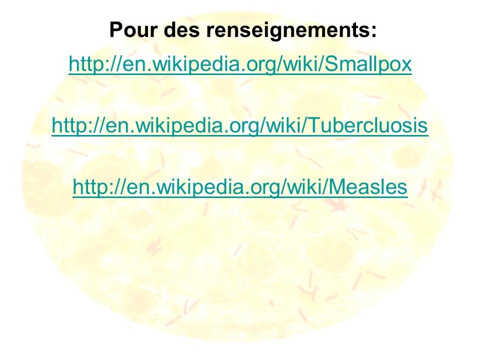 Pour des renseignements: http://en.wikipedia.org/wiki/Smallpox http://en.wikipedia.org/wiki/Tubercluosis http://en.wikipedia.org/wiki/Measles