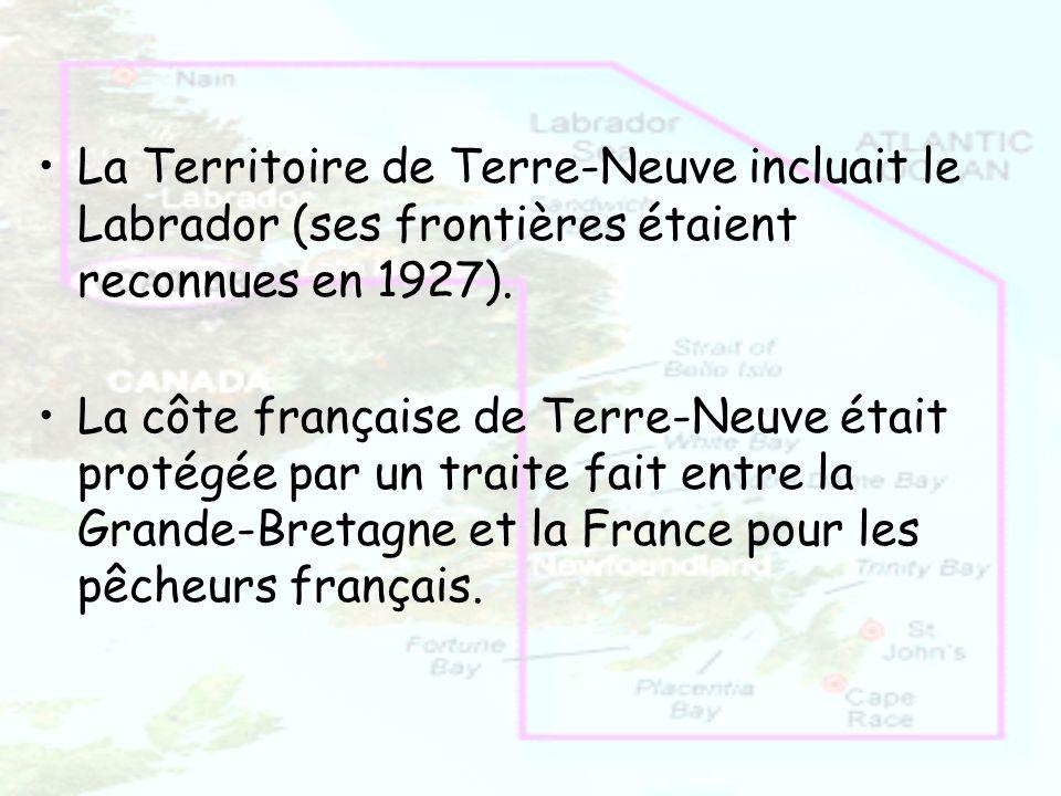 La Territoire de Terre-Neuve incluait le Labrador (ses frontières étaient reconnues en 1927). La côte française de Terre-Neuve était protégée par un t