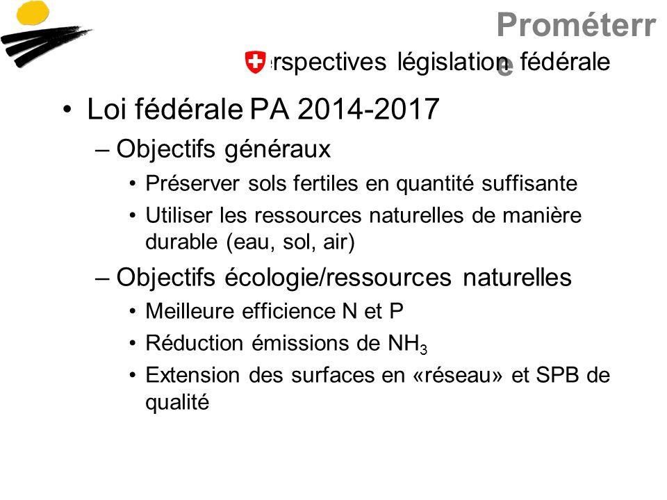 Prométerr e Perspectives législation fédérale Loi fédérale PA 2014-2017 –Objectifs généraux Préserver sols fertiles en quantité suffisante Utiliser le