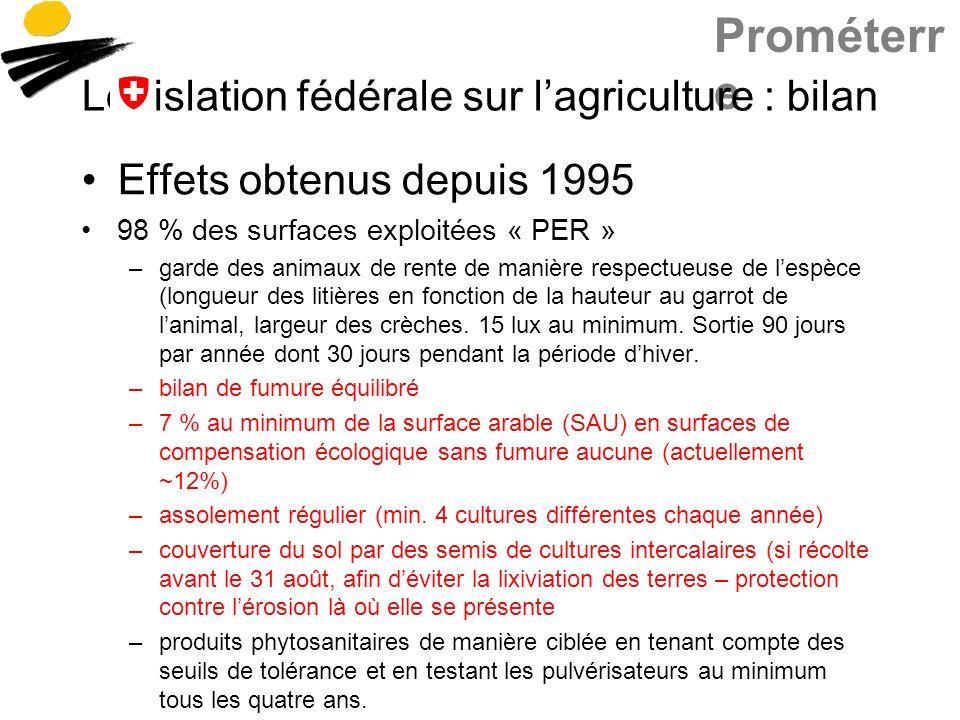Prométerr e Législation fédérale sur lagriculture : bilan Effets obtenus depuis 1995 98 % des surfaces exploitées « PER » –garde des animaux de rente