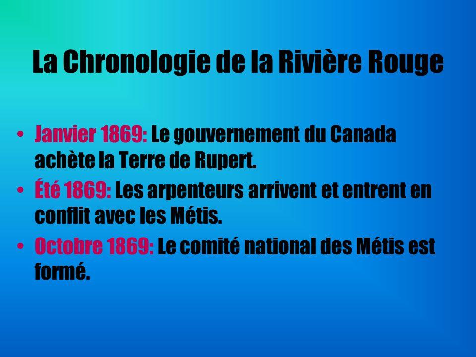 La Chronologie de la Rivière Rouge Janvier 1869: Le gouvernement du Canada achète la Terre de Rupert. Été 1869: Les arpenteurs arrivent et entrent en