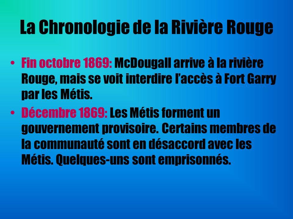 La Chronologie de la Rivière Rouge Fin octobre 1869: McDougall arrive à la rivière Rouge, mais se voit interdire laccès à Fort Garry par les Métis. Dé